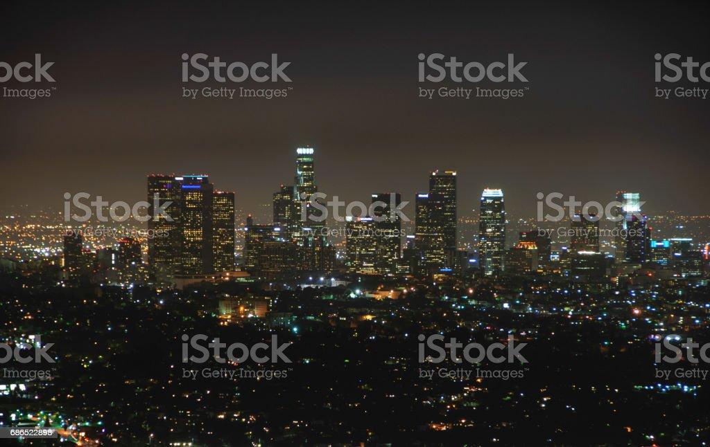 Los Angeles på natten royaltyfri bildbanksbilder