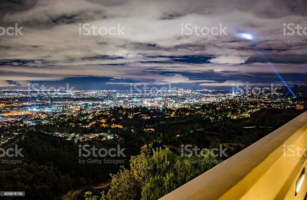 Los Angeles at night - search light stock photo