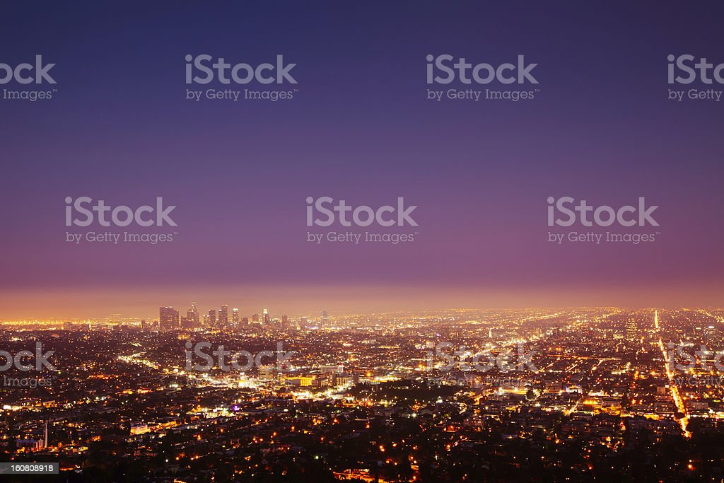 Los Angeles at nightfall stock photo