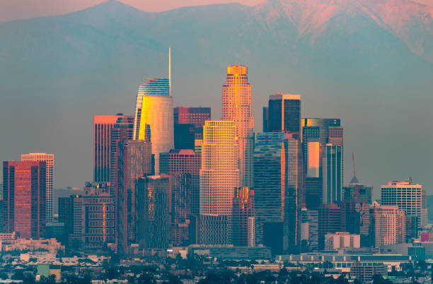 Los Angeles at Twilight Los Angeles with red sunlight on downtown buildings. mount baldy stock pictures, royalty-free photos & images