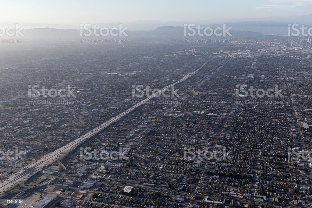 Los Angeles Basin Smog Areial stock photo