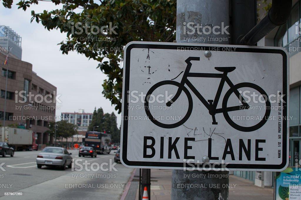Los Angeles Bike Lane Sign stock photo