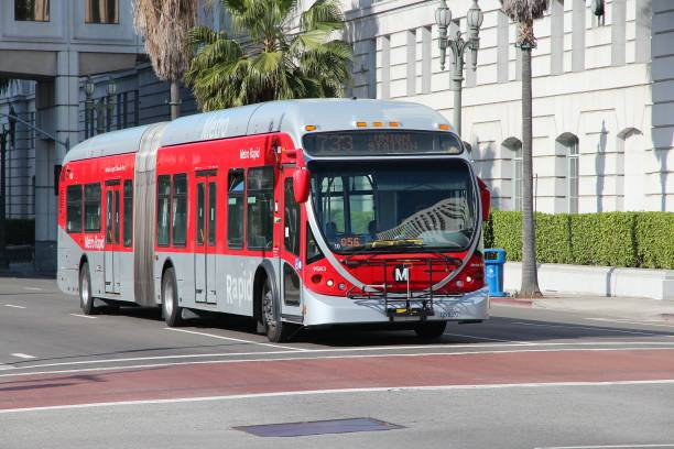 Los Angeles bus People ride a Metro bus in Los Angeles. Typical monthly ridership of Metro buses in LA area is 30 million rides (March 2014). bus rapid transit stock pictures, royalty-free photos & images