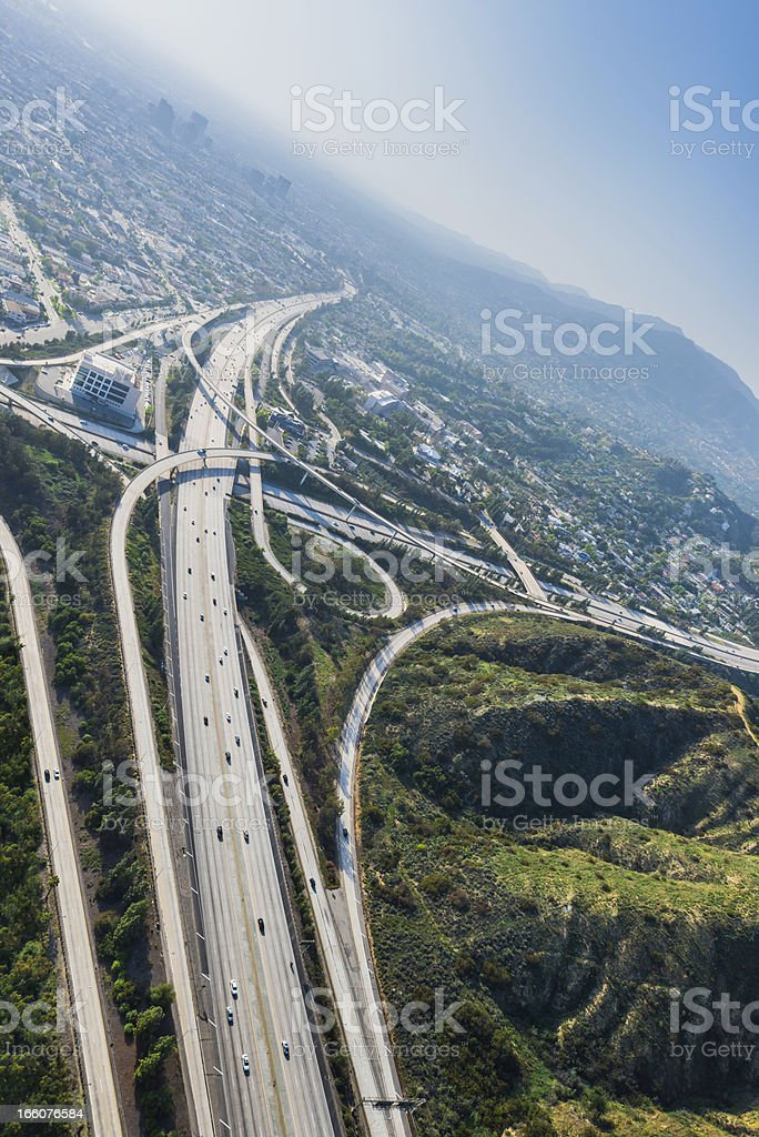 Los Angeles California aerial view of freeways interchanges royalty-free stock photo