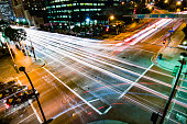 The busy streets of Los Angeles California at night.