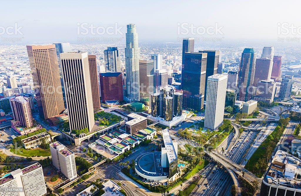 Los Angeles California downtown skyline skyscrapers cityscape panorama aerial view stock photo