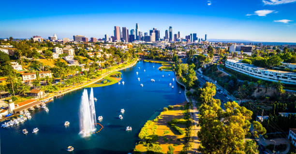 Los Angeles California Echo Park With Fountain and Afternoon View of the Cityscape Skyline of the second largest city stock photo