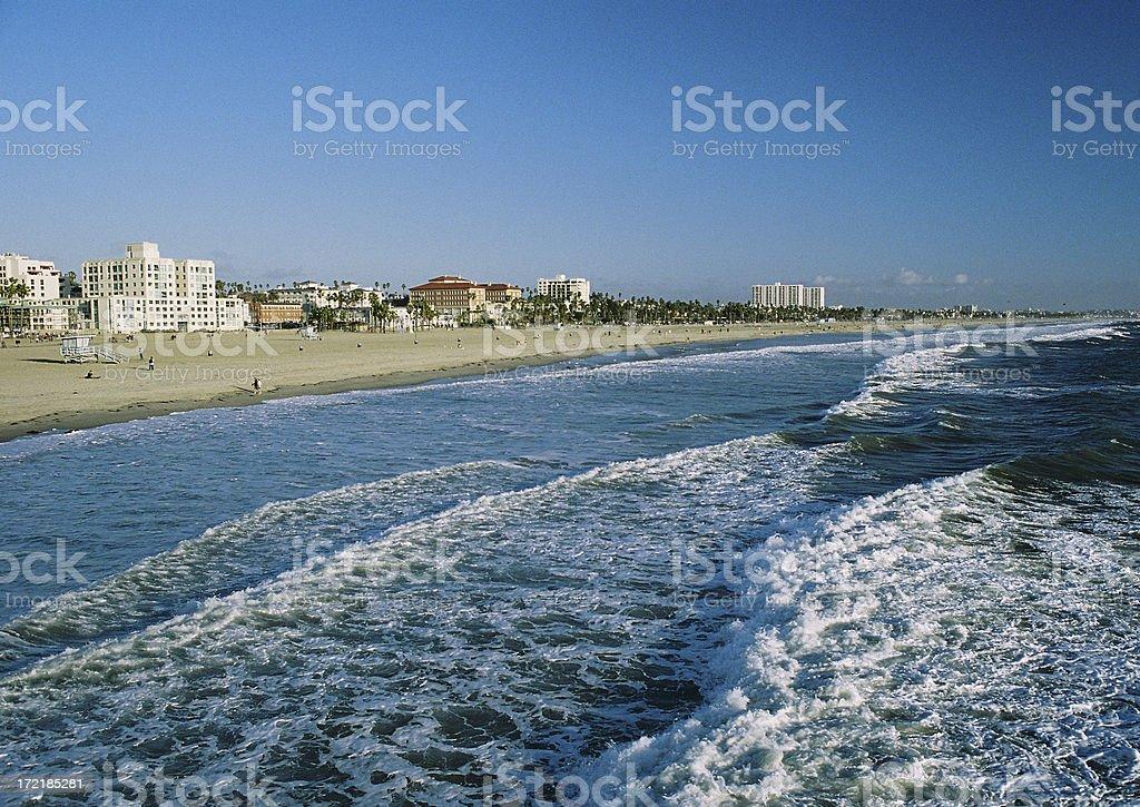 Los Angeles California pacific ocean beach resort hotel row stock photo
