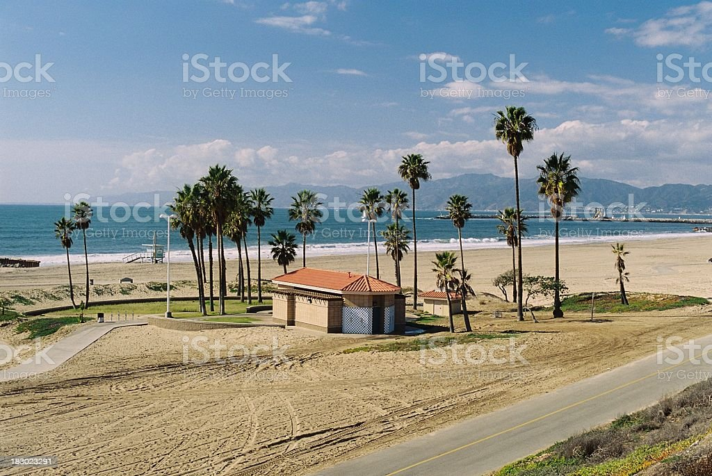 Los Angeles California palm trees and deserted beach royalty-free stock photo