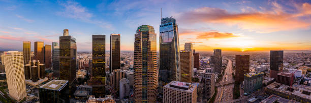 Los Angeles, California panorama at night from above stock photo