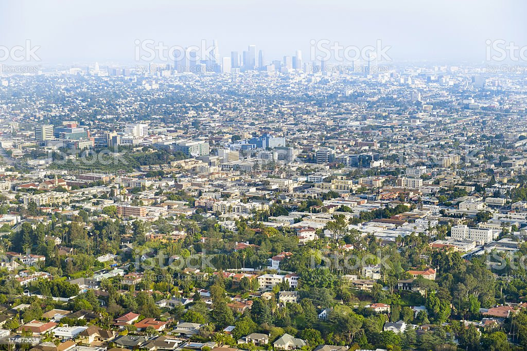 Los Angeles California skyline and urban sprawl panorama aerial view stock photo