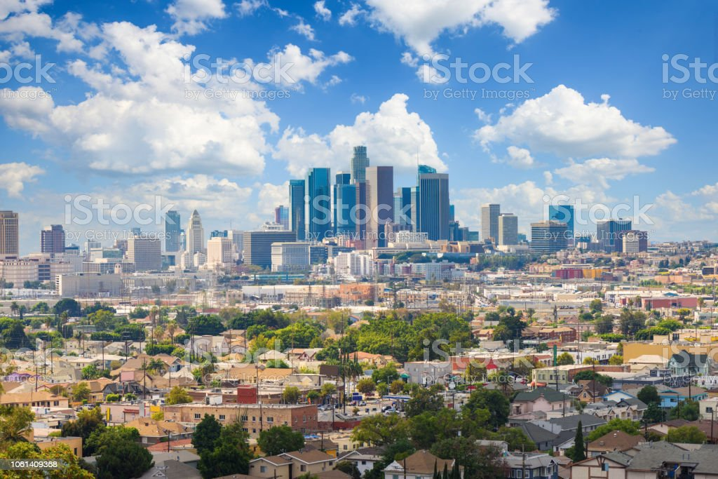 Los Angeles, California, USA downtown cityscape at cloudy day stock photo