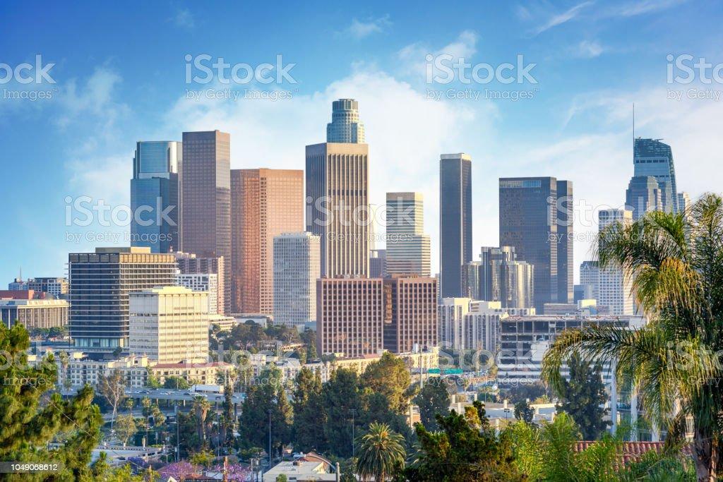Los Angeles, California, USA downtown cityscape at sunny day Los Angeles, California, USA downtown cityscape at sunny day American Culture Stock Photo