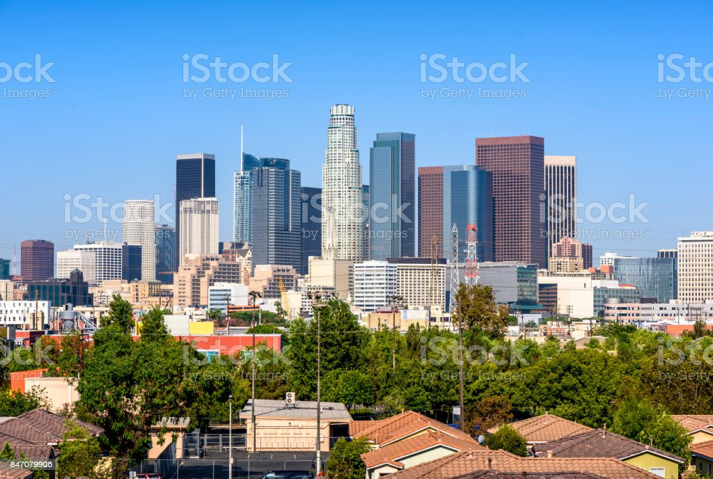 Los Angeles, California, USA downtown cityscape at sunny day stock photo