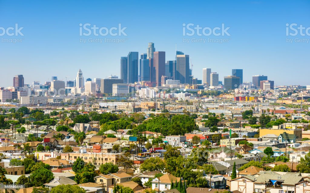 Los Angeles, California, USA downtown cityscape at sunny day royalty-free stock photo