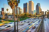 Los Angeles City Freeway Traffic At Sunset