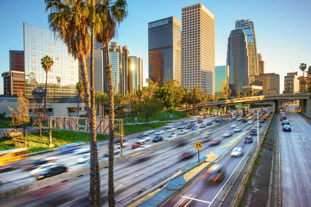 Los Angeles City Freeway Traffic At Sunset stock photo