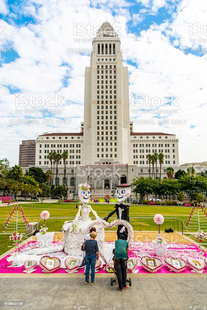 Los Angeles City Hall - Day of the Dead stock photo