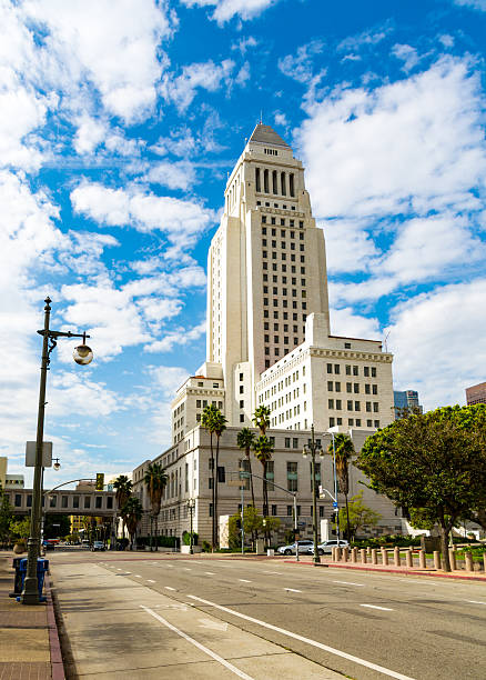 Los Angeles - City Hall - Empty Road stock photo
