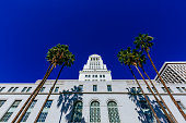 Los Angeles City Hall viewed from below, in downtown Los Angeles, USA