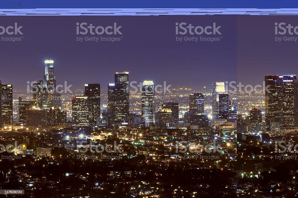 Los Angeles city skyline at night stock photo