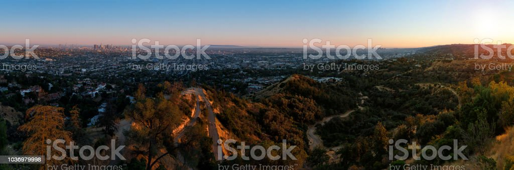 Los Angeles city skyline from Griffith Observatory stock photo