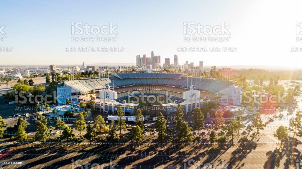 Los Angeles City Skyline with Dodger Stadium stock photo