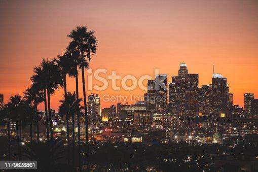 Los Angeles cityscape at dusk
