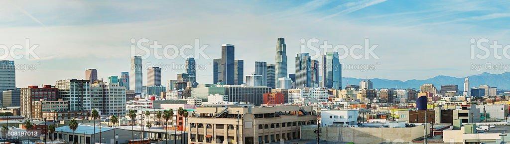 Los Angeles cityscape panorama stock photo