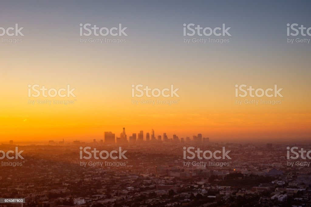 Los Angeles cityscape viewed from Griffith observatory at sunrise stock photo