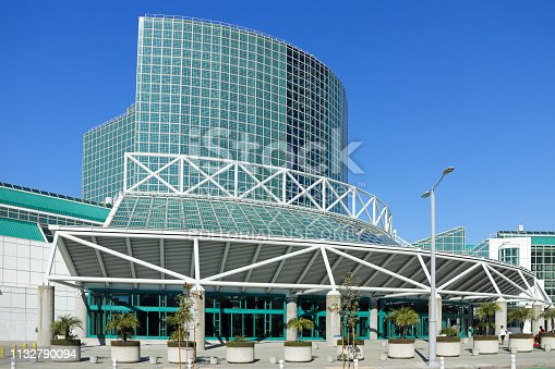 Los Angeles, USA - February 23, 2019:  Opened in 1971, The Los Angeles Convention Center has greatly expanded over the following decades. It is one of the largest convention centers in the US (over 700,000sf of exhibition space). It hosts annual events such as the Auto Show and Anime Expo.