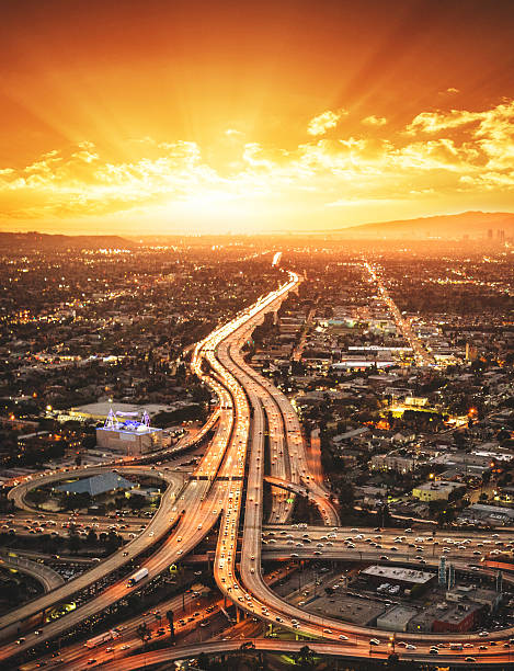 Los Angeles crossway junction aerial view Los Angeles crossway junction aerial view elevated road stock pictures, royalty-free photos & images