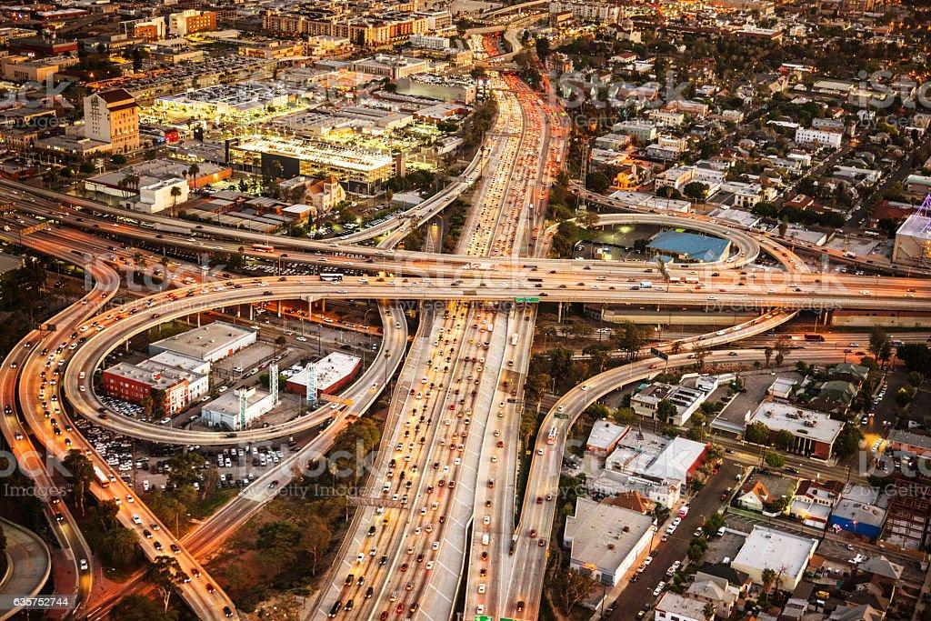 Los Angeles crossway junction aerial view Los Angeles crossway junction aerial view 2015 Stock Photo