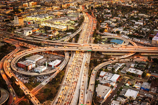 Los Angeles Crossway Junction Aerial View Stock Photo - Download Image Now