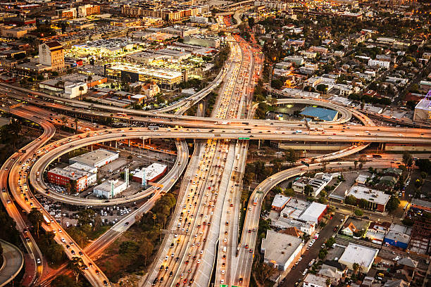 los angeles crossway junction aerial view - bridge built structure stock photos and pictures