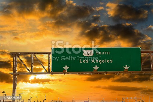 Los Angeles direction sign on 101 freeway southbound at sunset. Southern California, USA