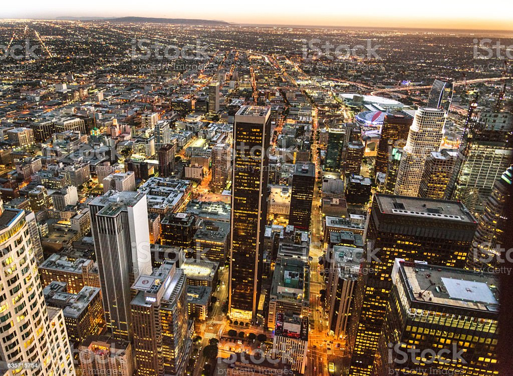 Los Angeles downtown aerial view royalty-free stock photo