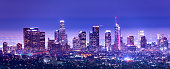 Los Angeles Downtown at dusk, California stock photo