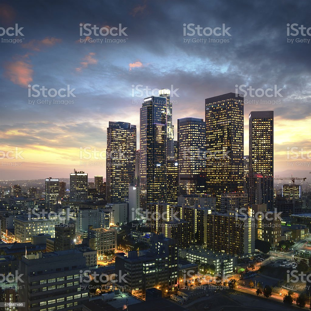 Los Angeles downtown at sunset, California stock photo
