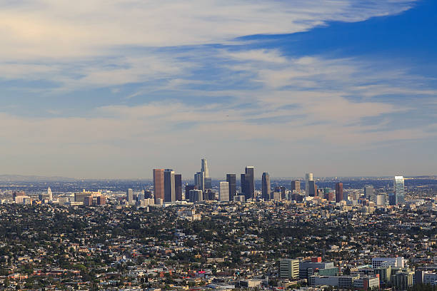 Los Angeles downtown, bird's eye view stock photo