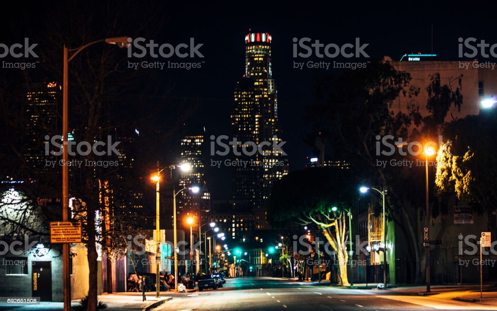 los angeles downtown by night skid row stock photo amp more