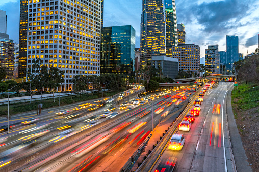 Los Angeles Downtown Evening Traffic
