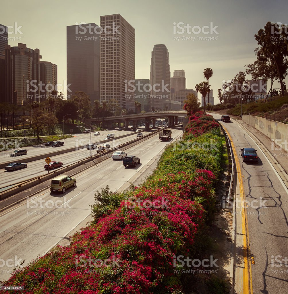 Los Angeles Downtown Financial District and Harbor Freeway stock photo