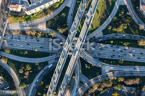 Los Angeles California downtown four level Harbor 110 and Hollywood 101 freeway interchange.