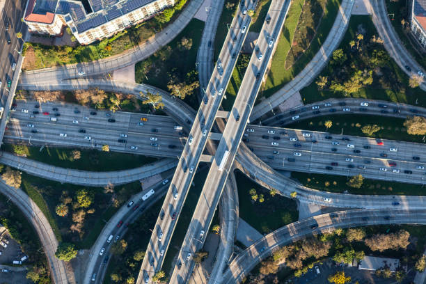 Los Angeles Downtown Four Level Freeway Interchange stock photo