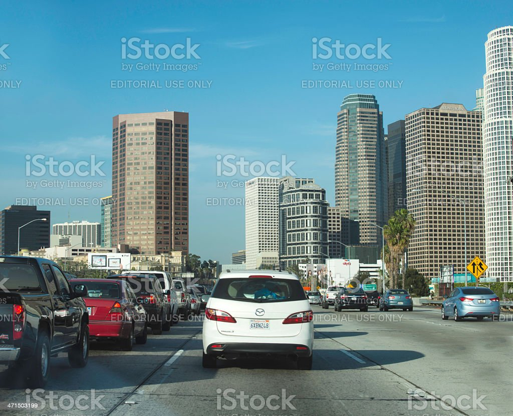 Los Angeles Downtown Freeway Traffic royalty-free stock photo