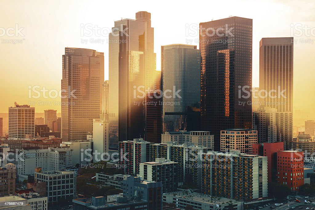 Los Angeles downtown skyline at sunset stock photo