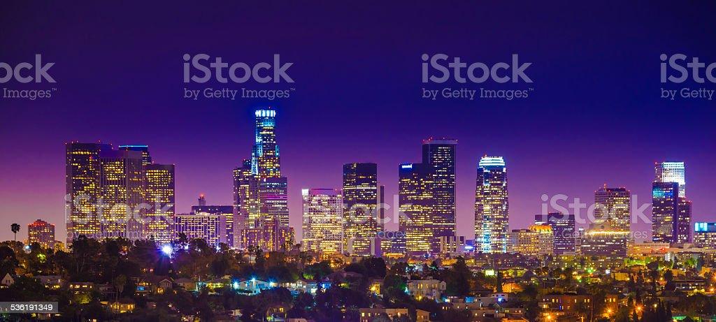 Los Angeles downtown skyscrapers skyline citycape panorama twilight night stock photo