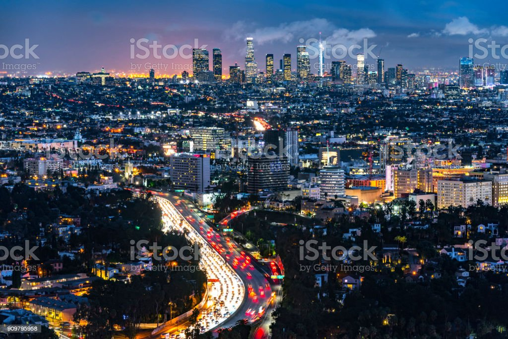 Los Angeles Evening Skyline Looking from Mt Hollywood stock photo