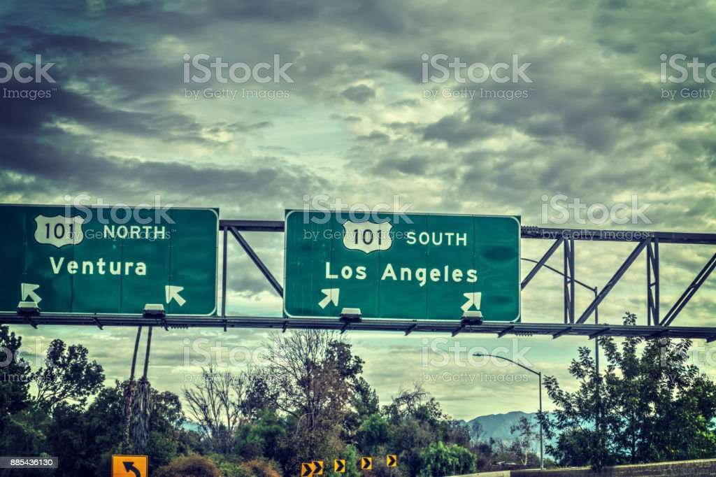 Los Angeles exit sign in 101 freeway stock photo